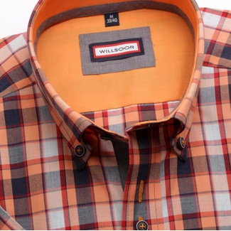 Men shirt WR Slim Fit with short sleeve a coloured checked (height 176-182) 5015