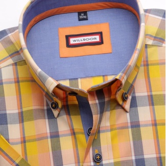 Men shirt WR Slim Fit with short sleeve with blue-yellow checked (height 176-182) 5019