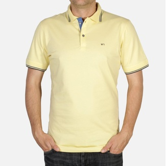 Men polo t-shirt with short sleeve Willsoor 5034 in yellow color