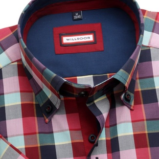 Men shirt WR Slim Fit with short sleeve in blue color with red checked pattern (height 176-182) 5051