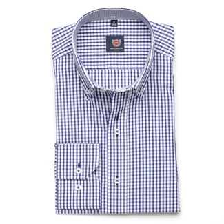 Men shirt with short sleeve in white color with checked WR London (height 198-204) 5106