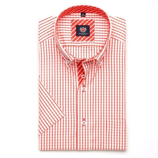 Men shirt WR London with short sleeve in white color with red checked (height 176-182) 5123