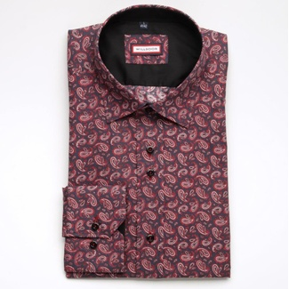 Men slim fit shirt (height 176-182) 5159 in blue color with pattern flowers, Willsoor