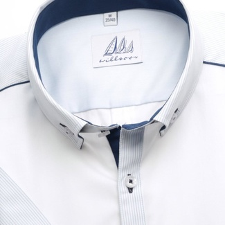 Men slim fit shirt (height 176-182) 5164 in white color with short sleeve