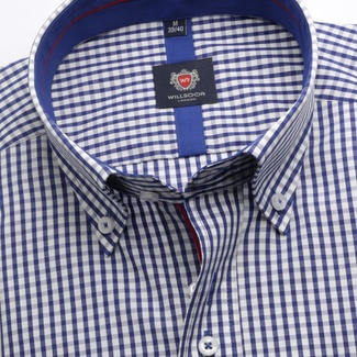 Men shirt WR London in blue color with checked (height 176-182) 5293