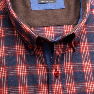 Men shirt Classic in blue color with checked (height 176-182) 5586