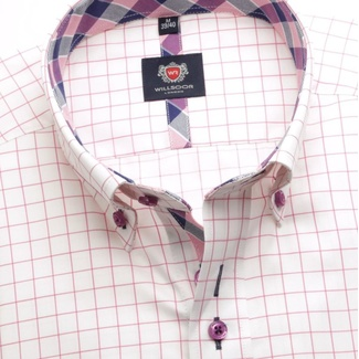 Men shirt London in white color with checked (height 176-182) 5590