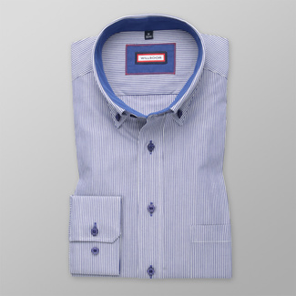Men shirt Slim Fit (height 176-182) 5711 in blue color with white strip