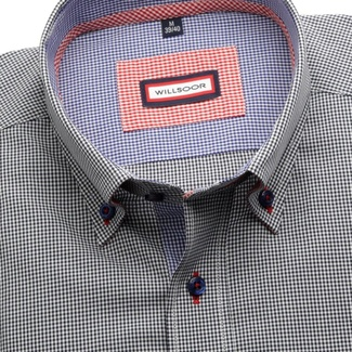 Men shirt Slim Fit (height 176-182) 5782 with fine dark blue checked