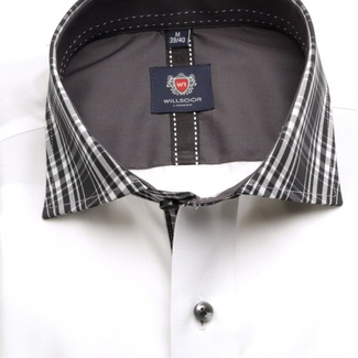 Men slim fit shirt London (height 188-194) 5944 in white color with formula 2 W Plus