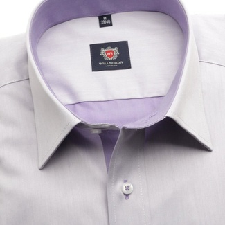 Men slim fit shirt London (height 164-170) 5956 in violet color with formula Easy Care