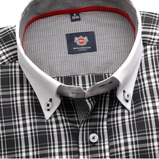 Men slim fit shirt London (height 176-182) 5965 in black color with checked a formula 2W Plus