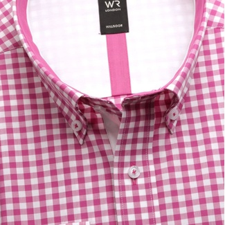 Men classic shirt London (height 176-182) 6006 in pink color with checked a formula Easy Care