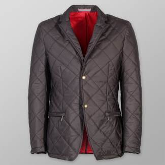 Men's quilted jacket in brown-grey color (height 176-182) 6027