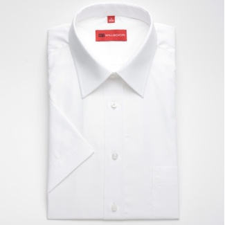 Men slim fit shirt (height 176/182) 604 with short sleeve in white color