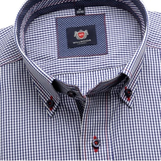 Men slim fit shirt London (height 176-182) 6078 with white-blue checked a formula Easy Care