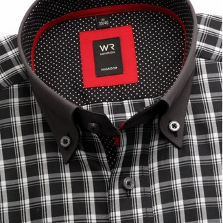 Men shirt slim fit London (height 176-182) 6080 in black color with white checked