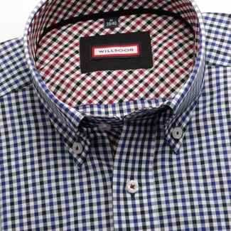 Men shirt Slim Fit (height 176-182) 6096 with white, black a blue checked