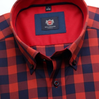 Men shirt slim fit London (height 176-182) 6104 in red color with checked with formula Easy Care