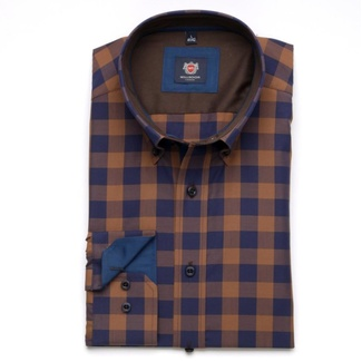Men slim fit shirt London (height 176-182) 6106 in brown color with checked a formula Easy Care