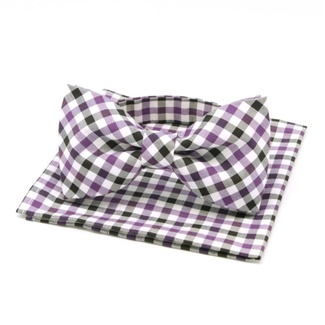 Men tied butterfly Willsoor 6137 with white, black a purple checked