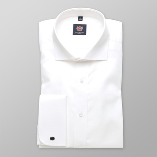 Men slim fit shirt London (height 198-204) 6146 in white color with formula 2 W Plus