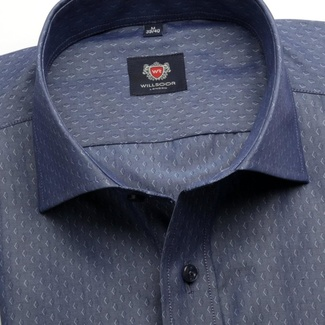 Men slim fit shirt London (height 176-182) 6239 in dark blue color with fine pattern