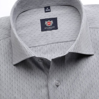 Men slim fit shirt London (height 176-182) 6240 in gray color with fine pattern a formula Easy Care