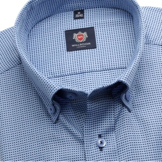 Men slim fit shirt London (height 188-194) 6260 in blue color a formula Easy Care