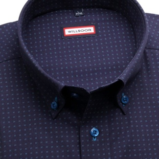 Men classic shirt (height 176-182) 6264 in blue-purple color with collar to cufflinks