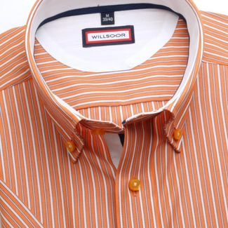Men slim fit shirt (height 176-182) 6270 with strip, collar to cufflinks a short sleeve