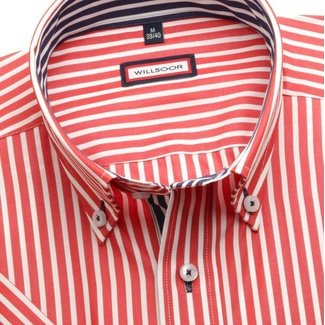 Men slim fit shirt (height 176-182) 6272 in red color with short sleeve