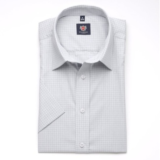 Men slim fit shirt London (height 176-182) 6281 in gray color with short sleeve