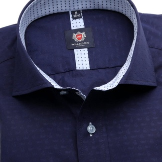 Men slim fit shirt London (height 176-182) 6331 in dark blue color with formula Easy Care