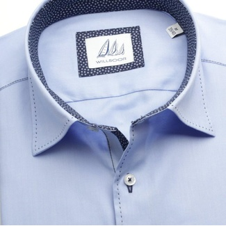 Men classic shirt London (height 176-182) 6334 in blue color with classic collar
