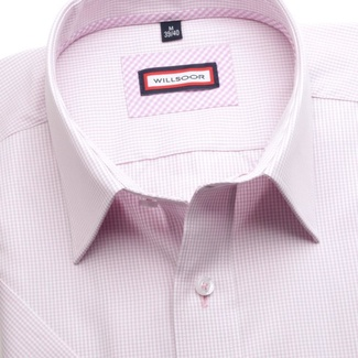 Men slim fit shirt (height 176-182) 6351 with fine checked in pink color a short sleeve
