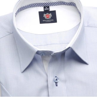 Men slim fit shirt London (height 176-182) 6353 in blue color with short sleeve