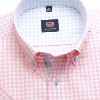 Men slim fit shirt London (height 176-182) 6355 with short sleeve a checked