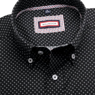 Men slim fit shirt (height 176-182) 6362 in black color with collar to cufflinks