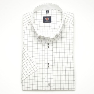 Men slim fit shirt London (height 176-182) 6387 in white color with black checked a short sleeve