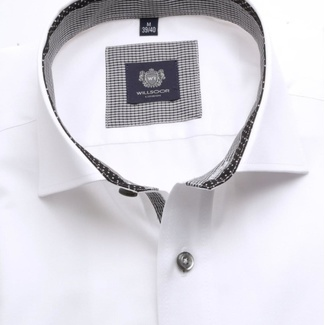 Men slim fit shirt London (height 164-170) 6426 in white color with short italian collar