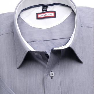 Men slim fit shirt (height 176-182) 6463 with short sleeve in gray color