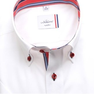 Men classic shirt (height 176-182) 6472 with short sleeve in white color