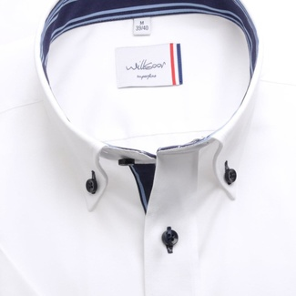 Men slim fit shirt (height 176-182) 6475 in white color with collar to cufflinks