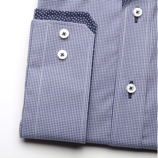 Men classic shirt London (height 176-182) 6500 with fine white-blue checked a formula Easy Care