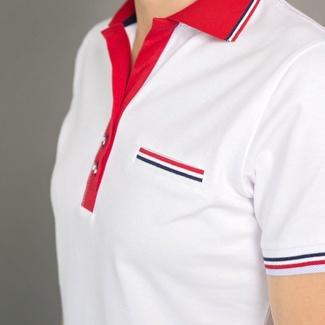 Women polo t-shirt 6503 in white color with red collar, Willsoor