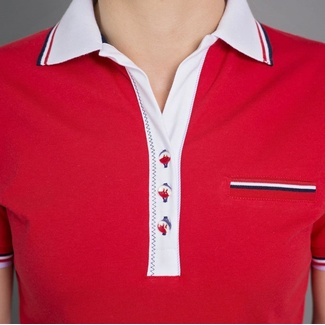 Women polo t-shirt 6506 in red color with white collar, Willsoor