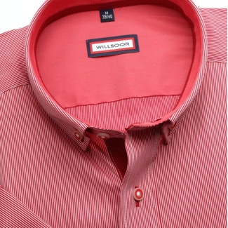 Men slim fit shirt (height 176-182) 6576 in red color with strip