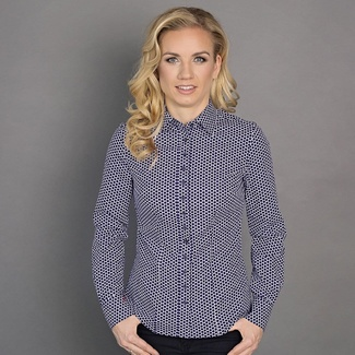 Women shirt Willsoor 6582 in white color with blue dots