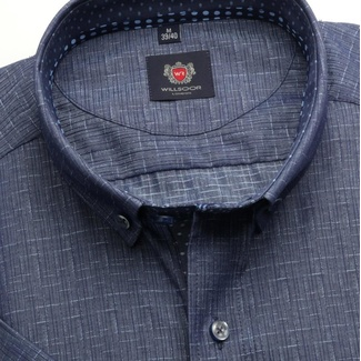 Men slim fit shirt London (height 176-182) 6586 in blue color with short sleeve
